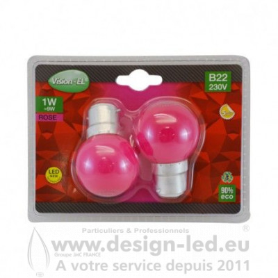 B22 LED Bulb 1W ROSE PACK X2