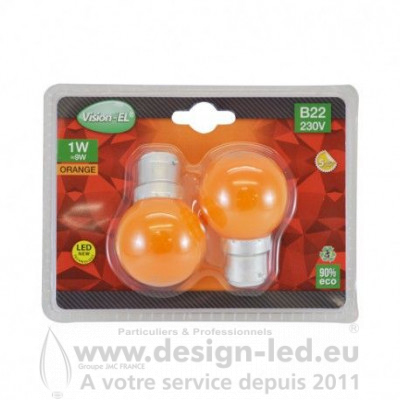 B22 LED Bulb 1W ORANGE PACK X2