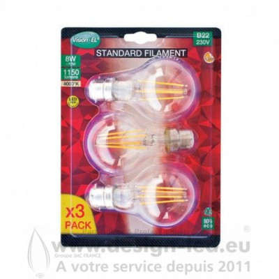 B22 LED Bulb FILAMENT 8W 4000K 1150LM PACK X3