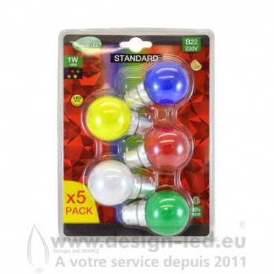 B22 LED Bulb 1W COULEUR PACK X5