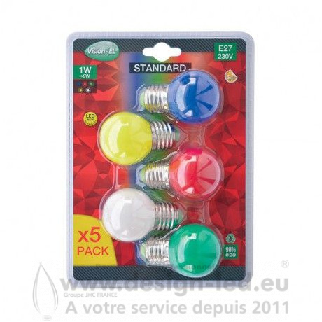 Ampoule E27 led G45 couleur pack x5 vision el 76160