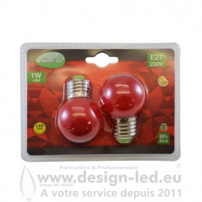 E27 LED Bulb G45 1W Rouge PACK X2 VISION EL 76181