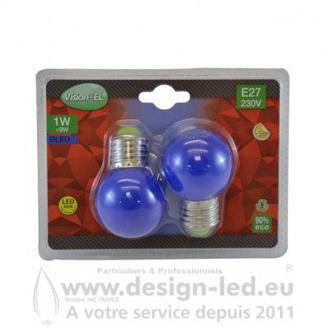 E27 LED Bulb G45 1W Bleu PACK X2
