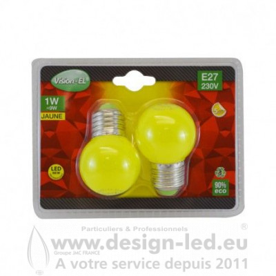 E27 LED Bulb G45 1W Jaune PACK X2