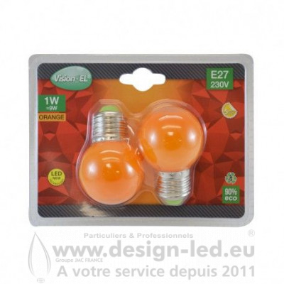 E27 LED Bulb G45 1W Orange PACK X2 VISION EL 76203