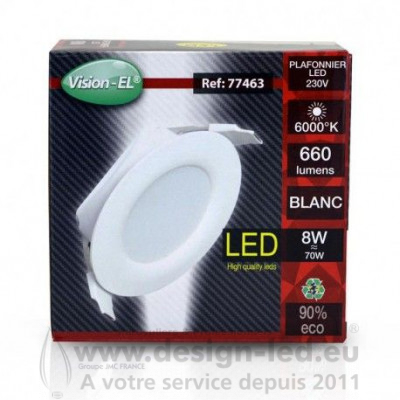 Downlight led Ø85 8w 6000k alim. interne vision-el 77463 9,30 €