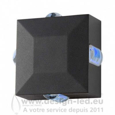 APPLIQUE MURALE CARRE LED 6W DIFFUSEUR BLEU GRIS IP54