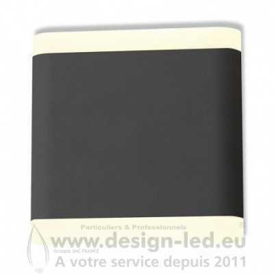 APPLIQUE MURALE LED 6 W 115 MM CARRE 4000K GRIS ANTHRACITE IP54 530LM