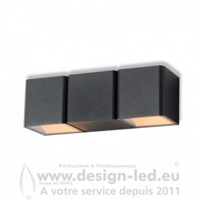 APPLIQUE MURALE LED 2X3 W 3000K GRIS ANTHRACITE IP54 350LM