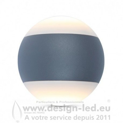 APPLIQUE MURALE BOULE LED 10W 4000K GRIS ANTHRACITE IP65 660LM