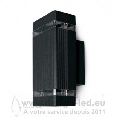 APPLIQUE MURALE RECTANGLE LED GU10 X 2 GRIS ANTHRACITE IP54