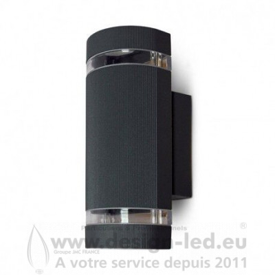 APPLIQUE MURALE LED CYLINDRIQUE GU10 X 2 GRIS ANTHRACITE IP54 VISION EL 70030 32,70 €