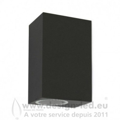 APPLIQUE MURALE LED RECTANGLE GU10 X 2 GRIS ANTHRACITE IP44