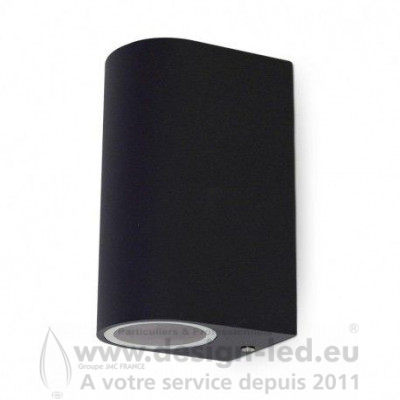 APPLIQUE MURALE LED CYLINDRIQUE GU10 X 2 GRIS ANTHRACITE IP44