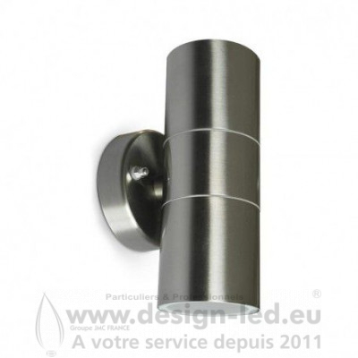 APPLIQUE MURALE LED GU10 X2 INOX IP54