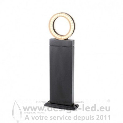 POTELET RECTANGLE 50 CM 12 W DIFFUSEUR ROND 4000K Gris Anthracite IP54 800LM