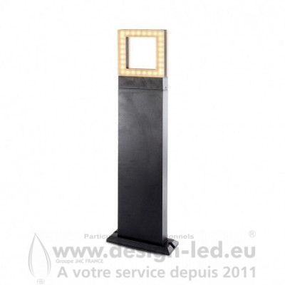 POTELET RECTANGLE 50CM 12W DIFFUSEUR CARRE 3000K Gris Anthracite IP54 800LM