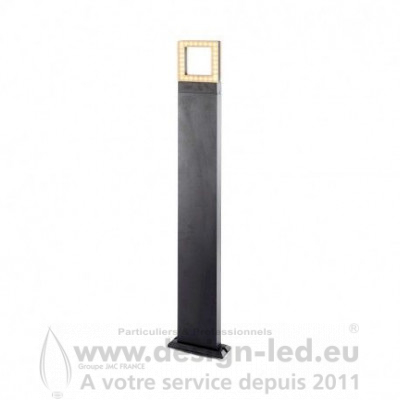 POTELET RECTANGLE 100CM 12W DIFFUSEUR CARRE 3000K Gris Anthracite IP54 800LM