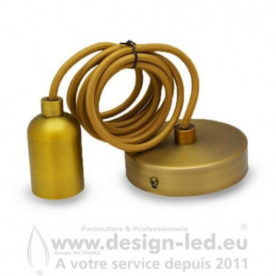 Suspension métal E27 cylindre rond mat marron bronze & câble de 2ml Vision-El 5013 20,40 €