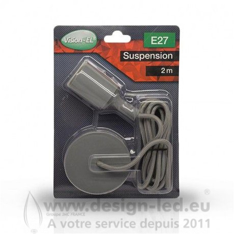 Suspension douille silicone E27 gris Vision-El 5002