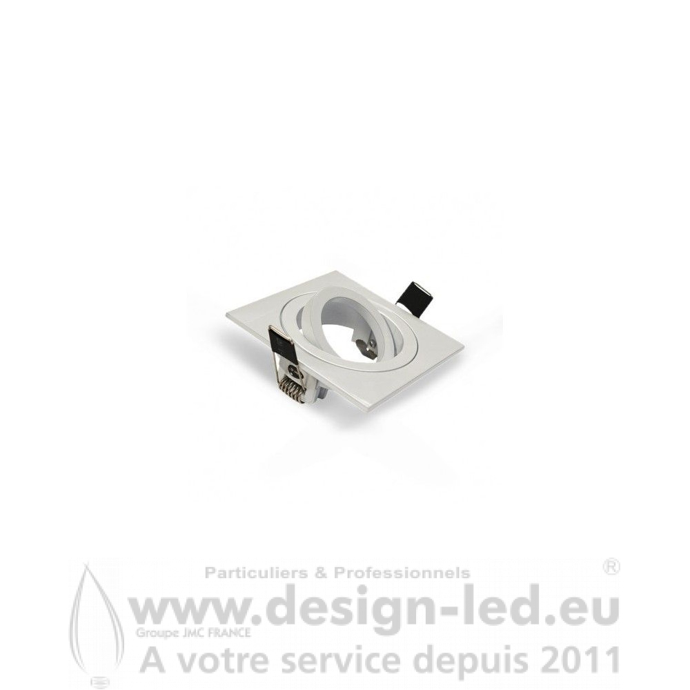 SUPPORT DE SPOT CARRÉ ALUMINIUM BLANC ORIENTABLE 88X88 MM PERÇAGE Ø79 mm