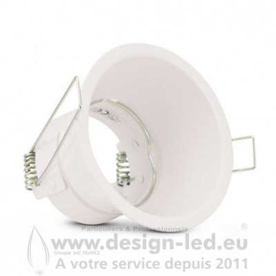 SUPPORT DE SPOT BASSE LUMINANCE ROND BLANC Ø83 IP20 PERÇAGE Ø75 mm