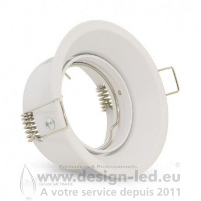 SUPPORT DE SPOT BASSE LUMINANCE ROND ROTATIF ORIENTABLE BLANC Ø85 IP20 PERÇAGE Ø75 mm