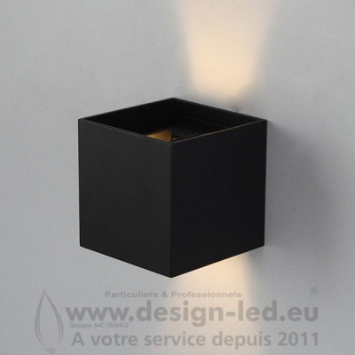 Applique murale 6W LED IP54 Noir Cube DESIGN-LED LM6182
