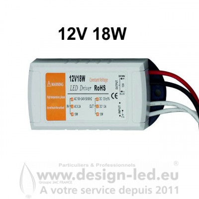 ALIMENTATION LED 12V 18W 1.5A DESIGN-LED 2260