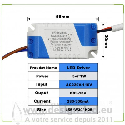DRIVER DIMMABLE 3/4W 280mA DESIGN LED 2258 4,20 €