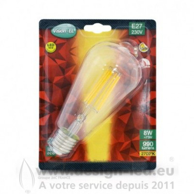 E27 ST64 LED Filament 8W 2700K 1050LM DIMMABLE
