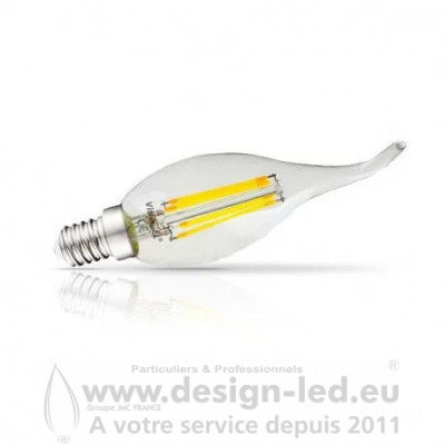 E14 Filament Coup de vent LED 4W Dimmable 2700K 495LM
